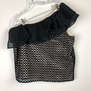 J crew women's top sz 12 black one shoulder ruffle